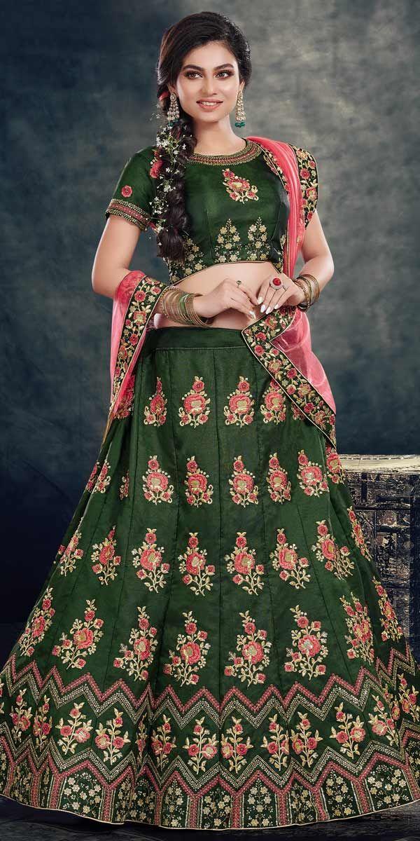 cce2c79fc1 Glamerous Dark Green Velvet Designer Lehenga Choli.This Bridal Lehenga Choli  has trendy Embroidery Work, lace work and matching dupatta which gives you  ...