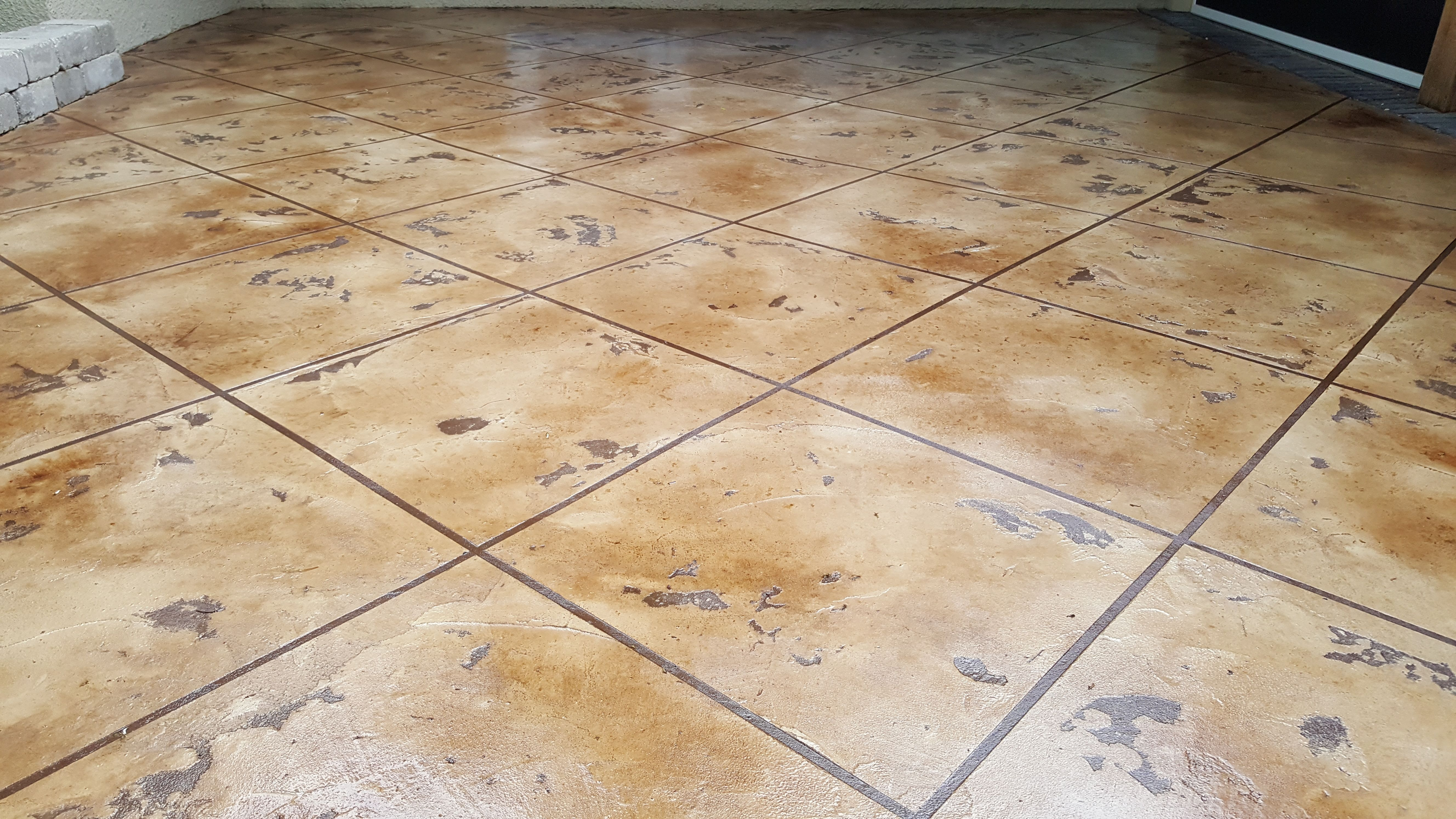 Concrete Staining Tuscan Slate Tile Pattern For A Patio In Grandview Ohio