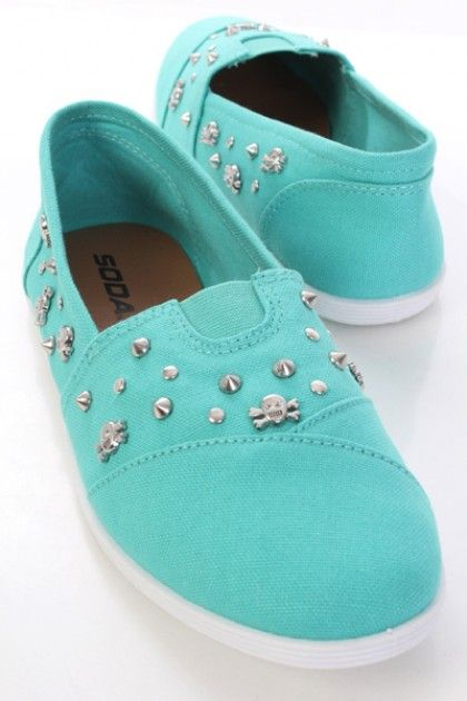 Mid Teal Fabric Stitched Spike Skull Studded Flats