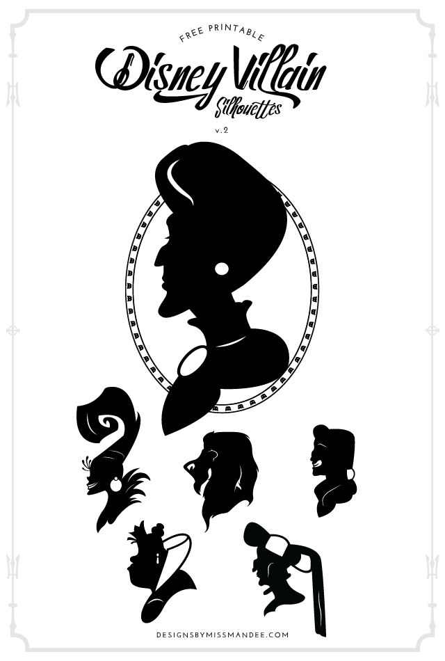 Disney Villain Silhouettes V 2 Designs By Miss Mandee Disney Silhouettes Disney Villains Disney Villain Party