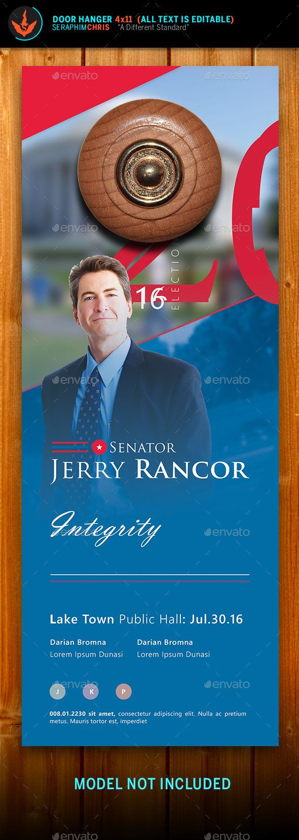 Political Election Door Hanger Template  Miscellaneous Print