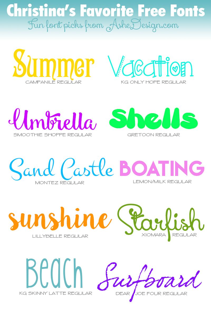 FREE Fonts - Summer Vacation Fonts | Silhouette fonts ...