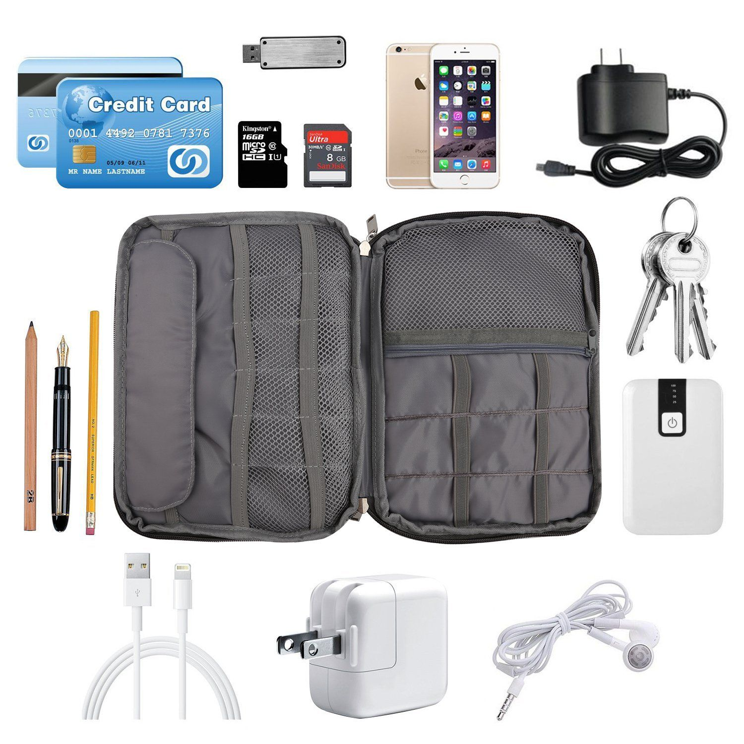 Electronics Travel Gadget Organizer Tech Bag Pritek Accessories Storage Carrying For Usb Cables Sd