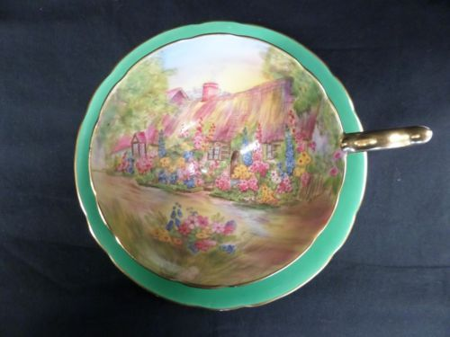 VERY-RARE-AYNSLEY-COTTAGE-AT-CROPTHORNE-NV-EVERSHAM-TEA-CUP-AND-SAUCER