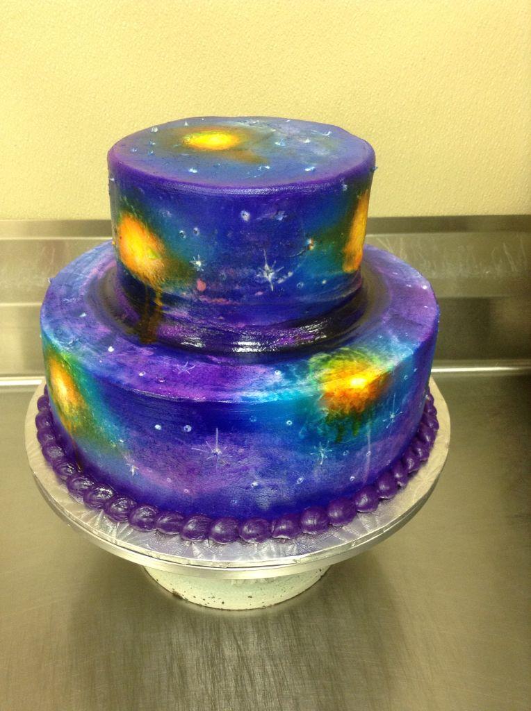 Two Tier Galaxy Birthday Cake