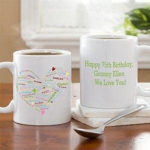 Personalized 75th Birthday Coffee Mug for Grandmother