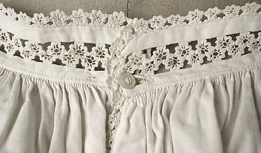 "Chemise Date1860–65 Culture: American or European. MMA, C.I.44.48.12a, b. Chemise and drawers set, trimmed with ""lace"" made from waved braid (rickrack)."