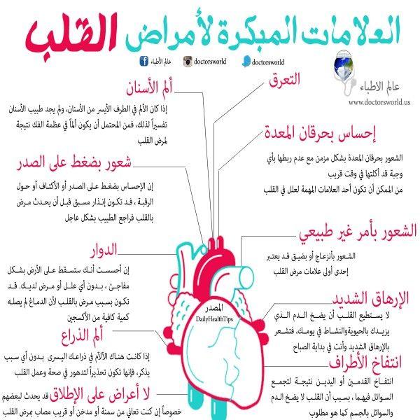انفوجرافيك العلامات المبكرة لأمراض القلب Health Advice Medical Information Health And Nutrition