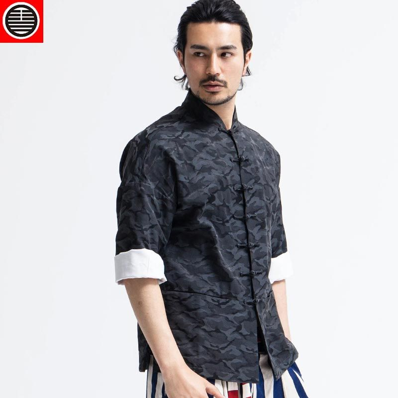 Chinese style high quality Camouflage clothing male three quarter sleeve  stand collar slim tang suit 5
