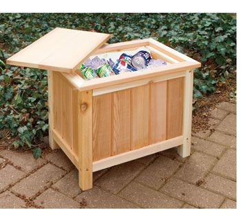 Unusual Multi Use End Table With Ice Chest For Patio Or Deck Patio Cooler Wooden Patios Patio Bar Table