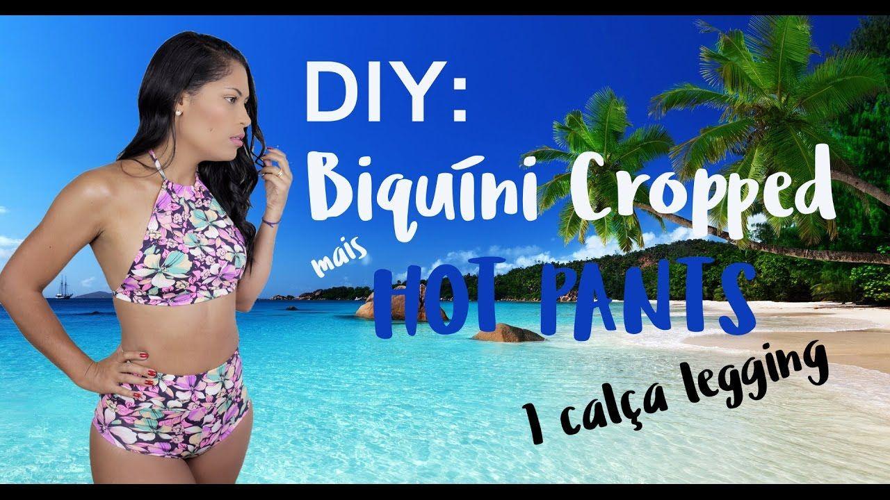 8f405eecec68 DIY - BIQUÍNI COM LEGGING | biquinis | Biquini cintura alta, Como ...