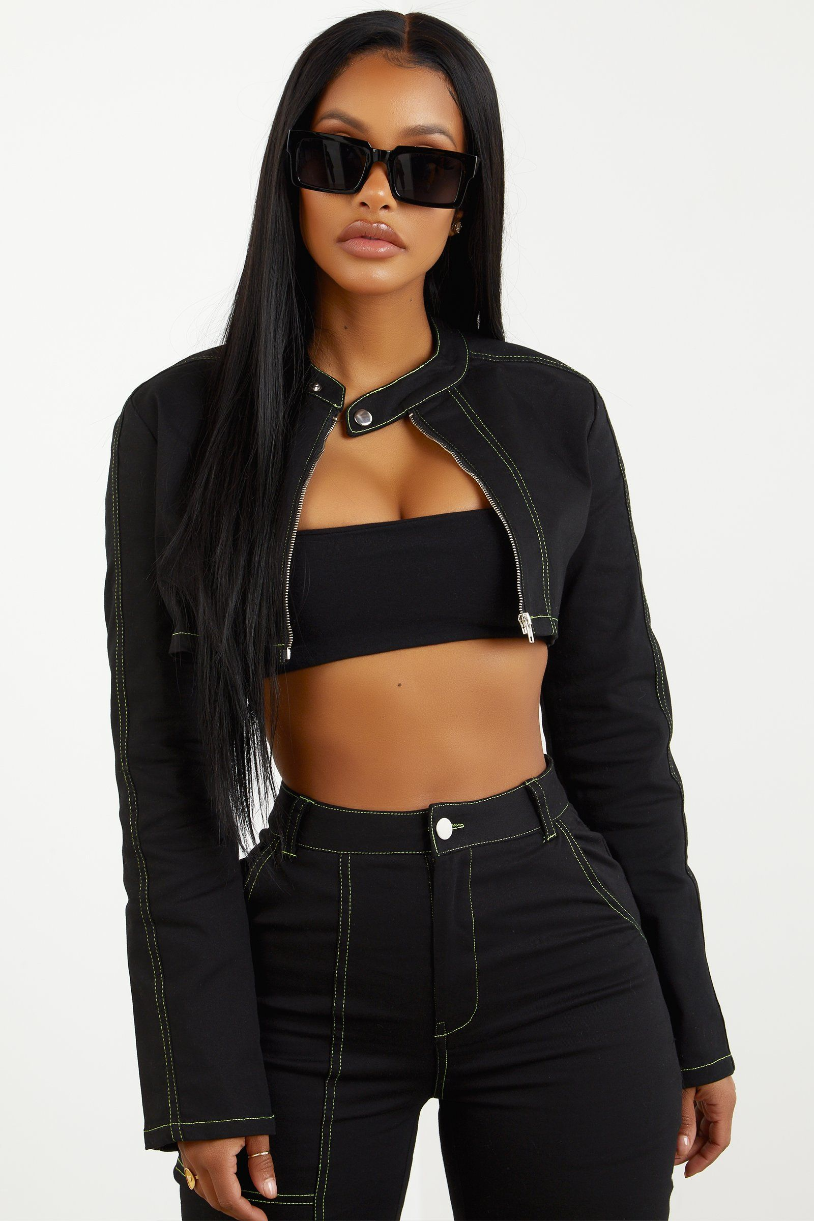 50839959b1a6d Sorella Contrast Stitch Cropped Jacket - Lime in 2019