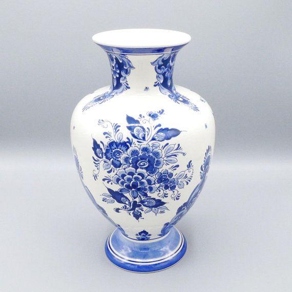Delft Blue Vase 26cm Blue White Faience Handpainted Royal Delft