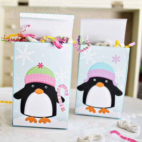 Christmas Penguins Theme - Printable Party Favor Boxes - Set of 2 ...