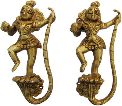 2 INDIAN KRISHNA BRASS DOOR HANDLE PULL India