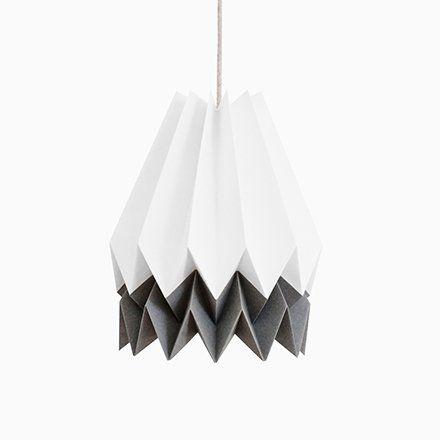 Photo of Polar White Origami Lamp with Alpine Grey Stripe by Orikomi