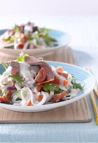 Best Thai Beef Noodle Salad with Coconut Lime and Chili Mayonnaise