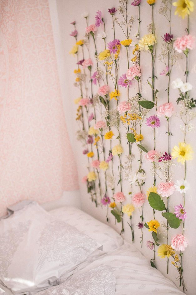 DIY Flower Wall | Diy flower wall, Flower room decor ...