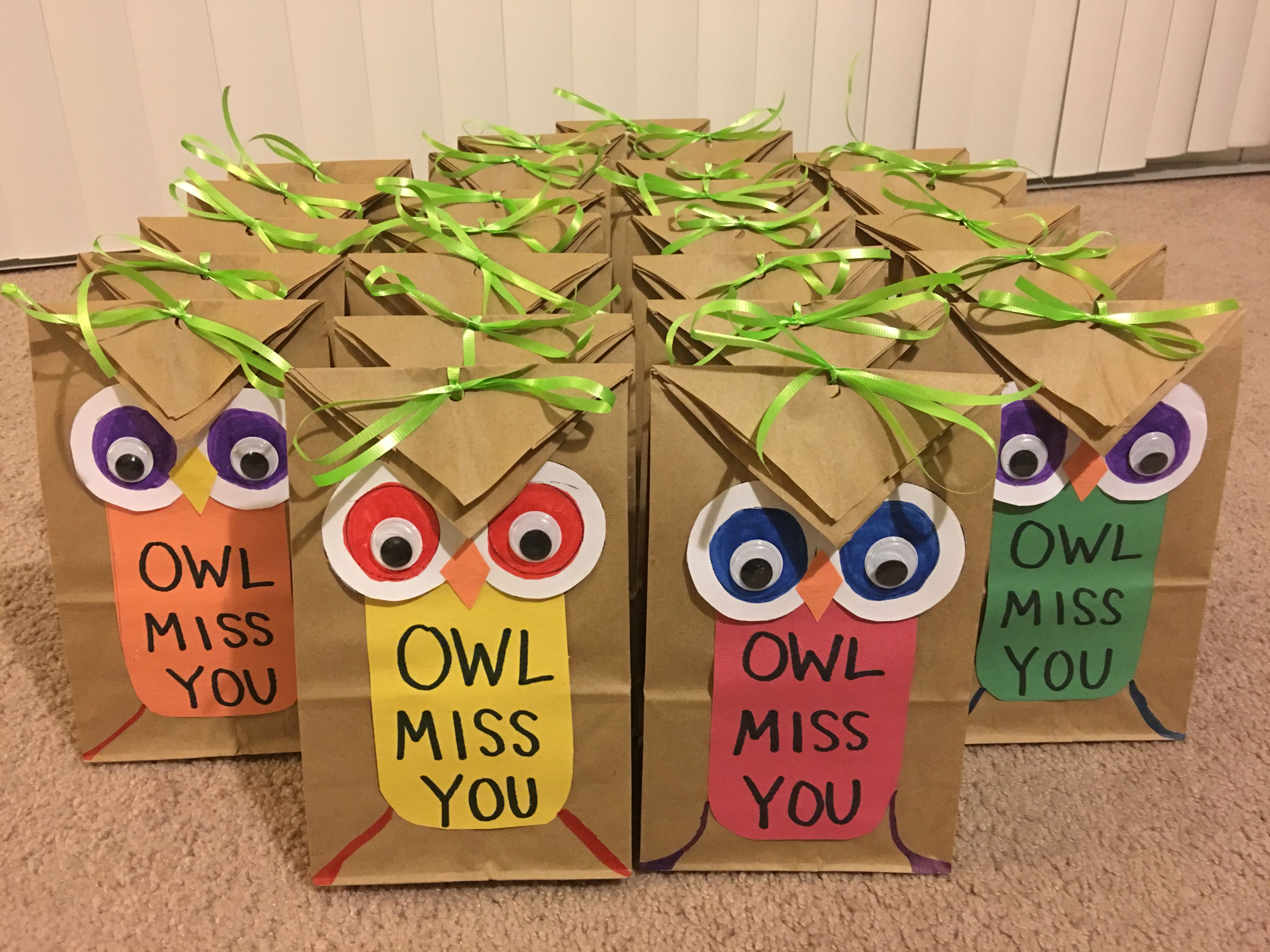 Classroom Gift Ideas For Students : Owl miss you gift bags for students teaching