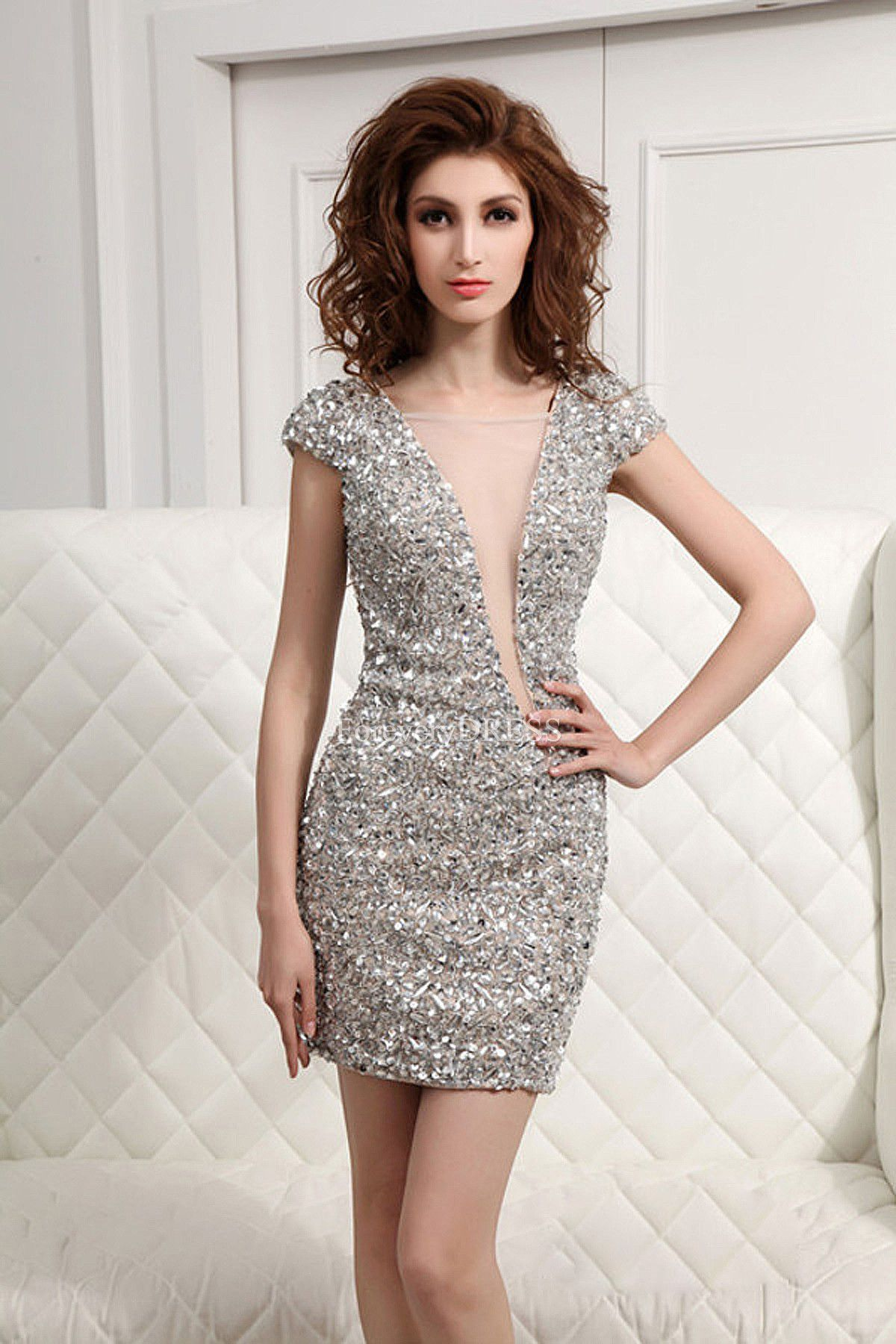 Silver Short Party Dress