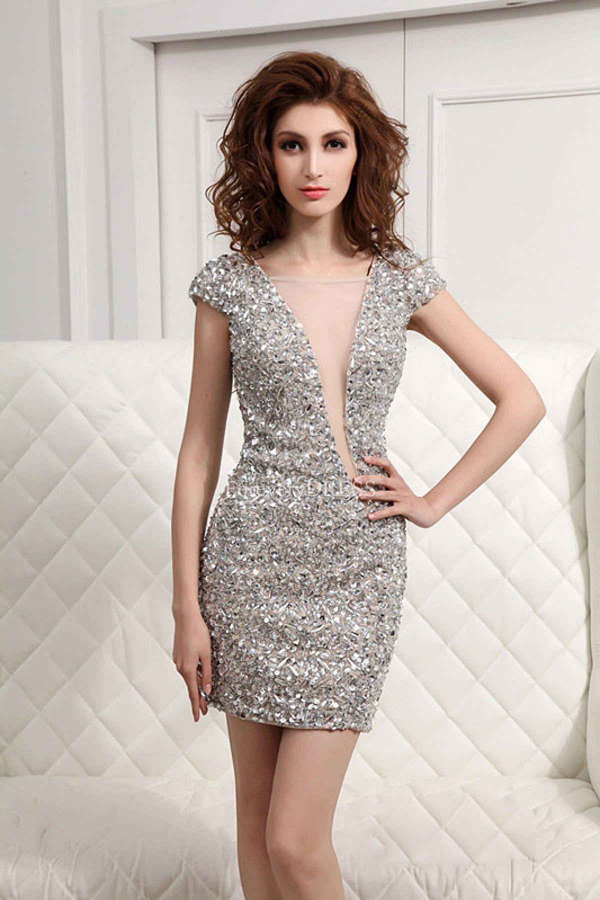 Modest-Unique-Square-Neck-Silver-Short-Sleeve-Cocktail-Dress ...