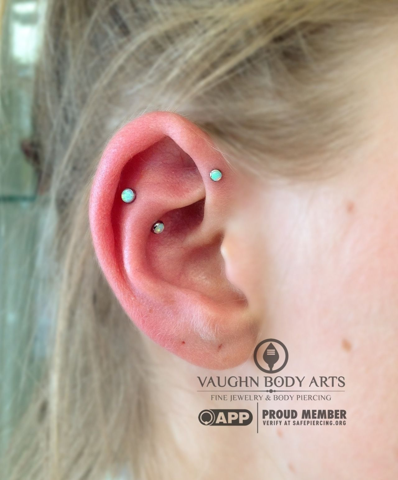 3mm nose piercing  Rebecca stopped in for a forward helix and fauxsnug piercing She