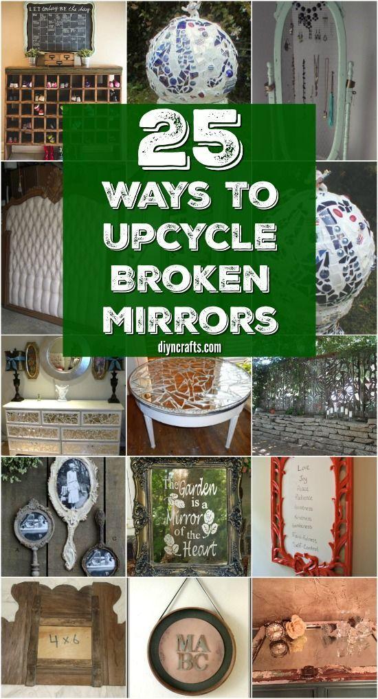 20 Brilliantly Crafty Diy Ideas To Upcycle Broken Mirrors Broken Mirror Diy Mirror Diy Projects Broken Mirror