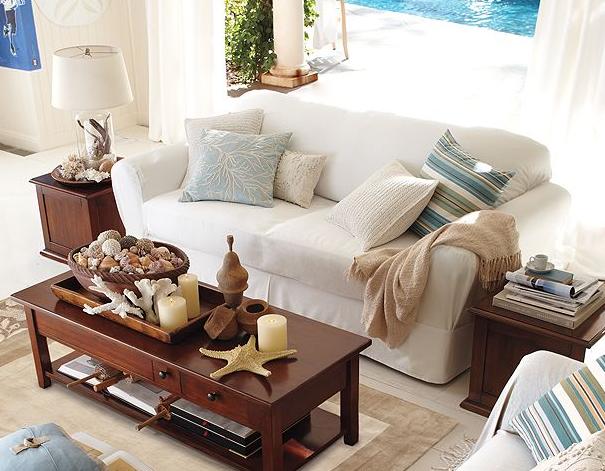 Coastal Living Room Dark Wood White And Blue Colors Decor