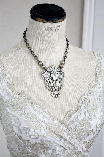 Vintage Rhinestone Statement Necklace