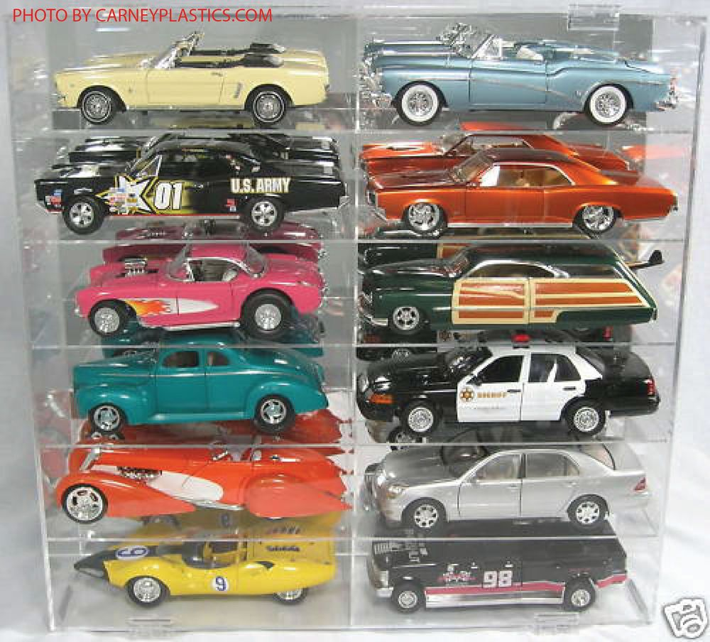 Model Car Diecast Display Case 1/18 scale 12 car Compartment ...