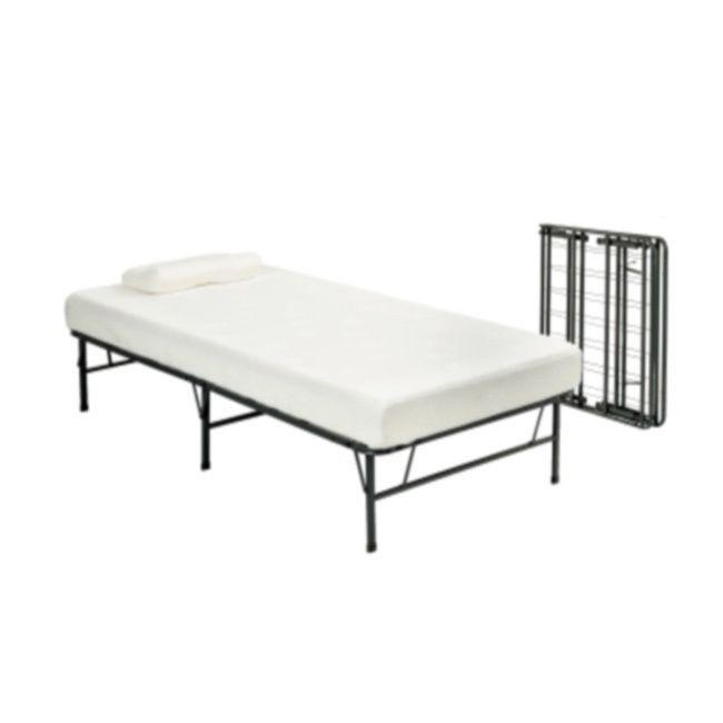 Pragma Fold Bed Frame Twin XL-size with 6-inch Memory Foam Mattress ...