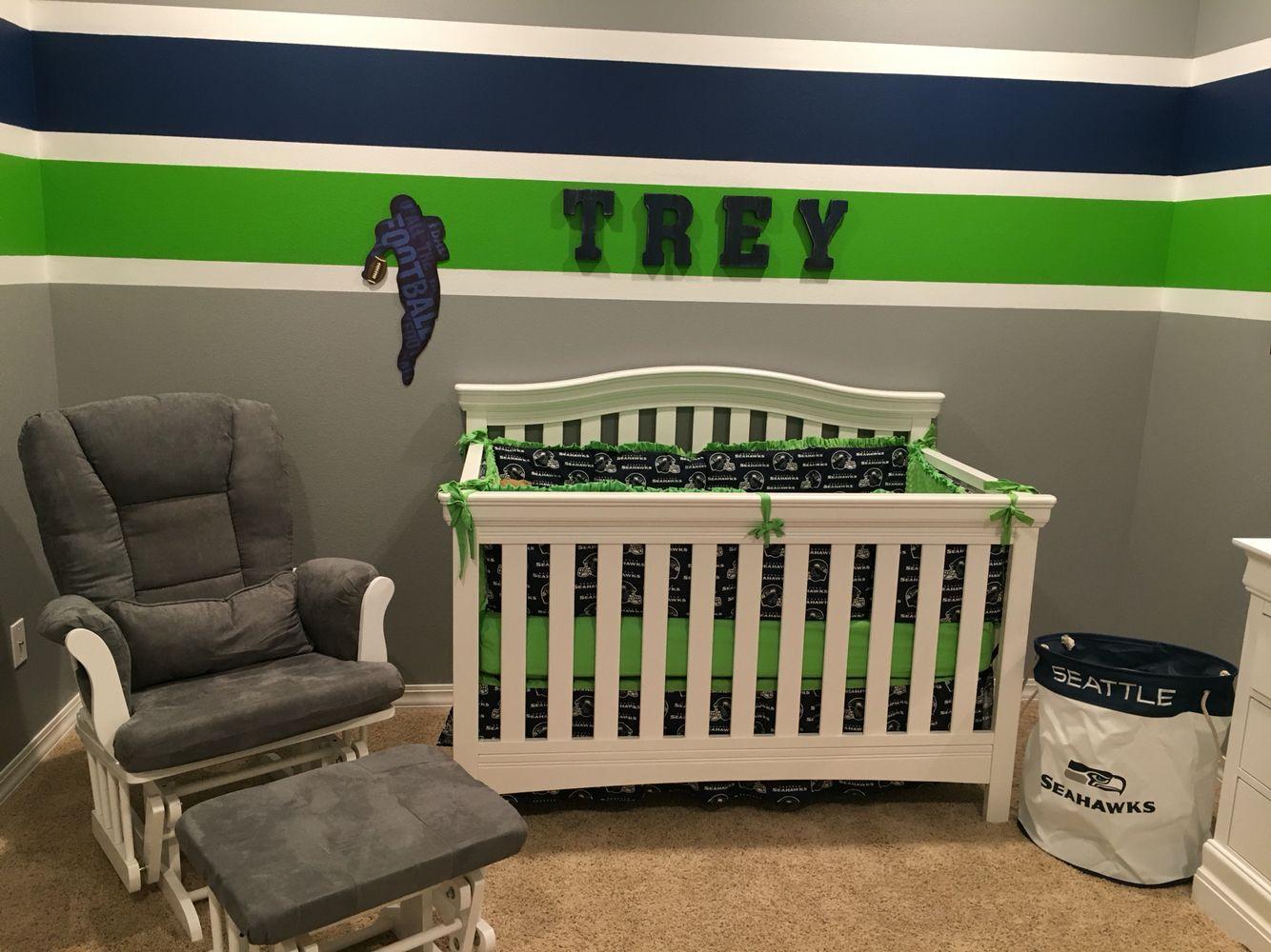 Seattle Seahawks Baby Gifts Custom Baby Gift Sports Theme Nursery Preppy Baby Shower Seattle Seahawks Ribbon