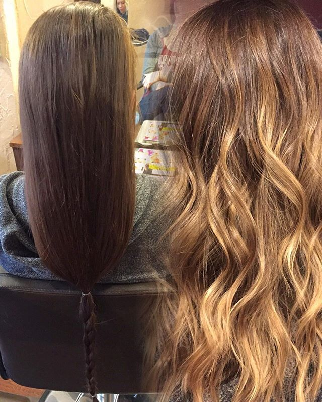 Dark Brown To Golden Blonde Balayage With A Long Layered Haircut
