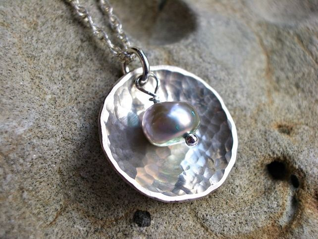 Photo of Sterling silver hammered domed pendant necklace with silver grey pearl