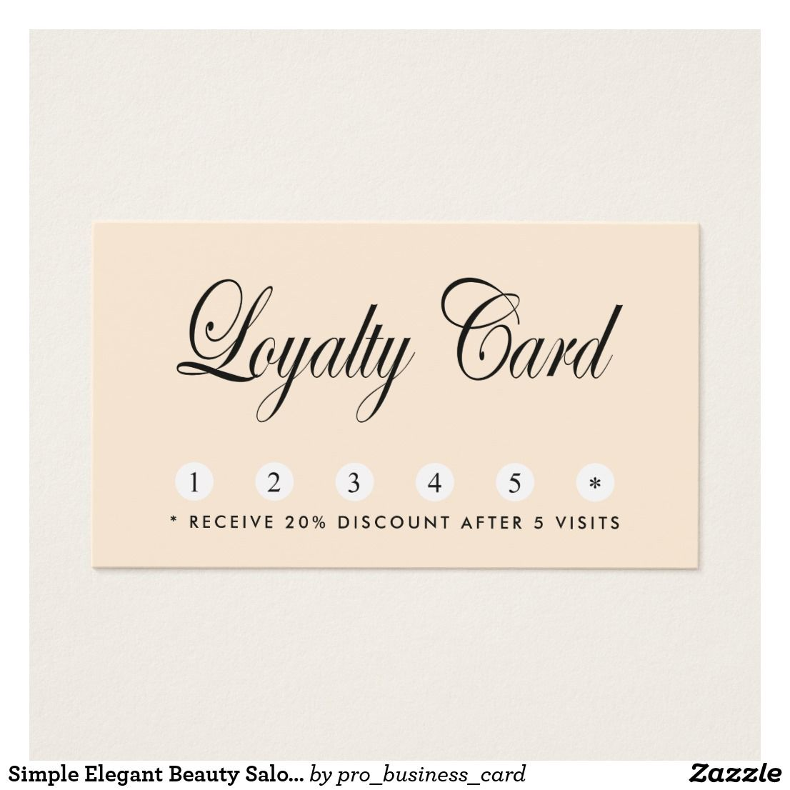 Simple Elegant Beauty Salon Loyalty Card Zazzle Com Loyalty Card Design Loyalty Card Printing Double Sided