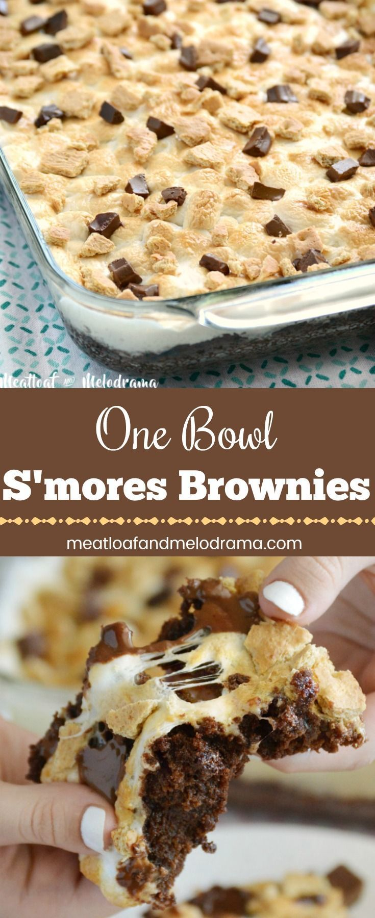 One Bowl S'mores Brownies #desserts