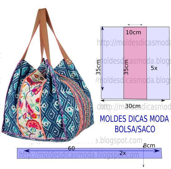 BOLSA ESTAMPADA -46   Moldes Dicas Moda