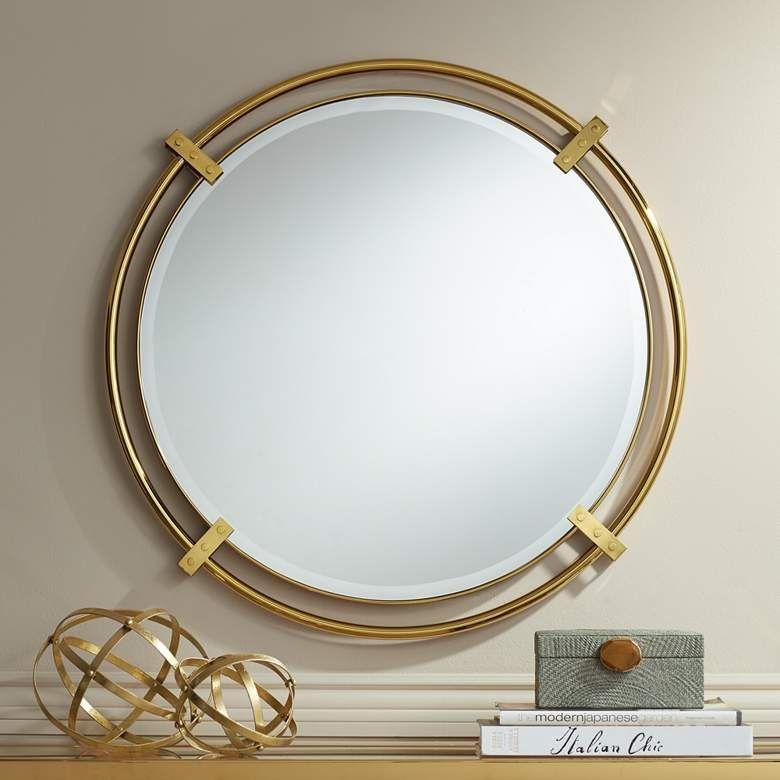 Possini Euro Kenton 32 Round Gold Bracket Wall Mirror 71c11 Lamps Plus Mirror Wall Modern Mirror Wall Brass Mirror