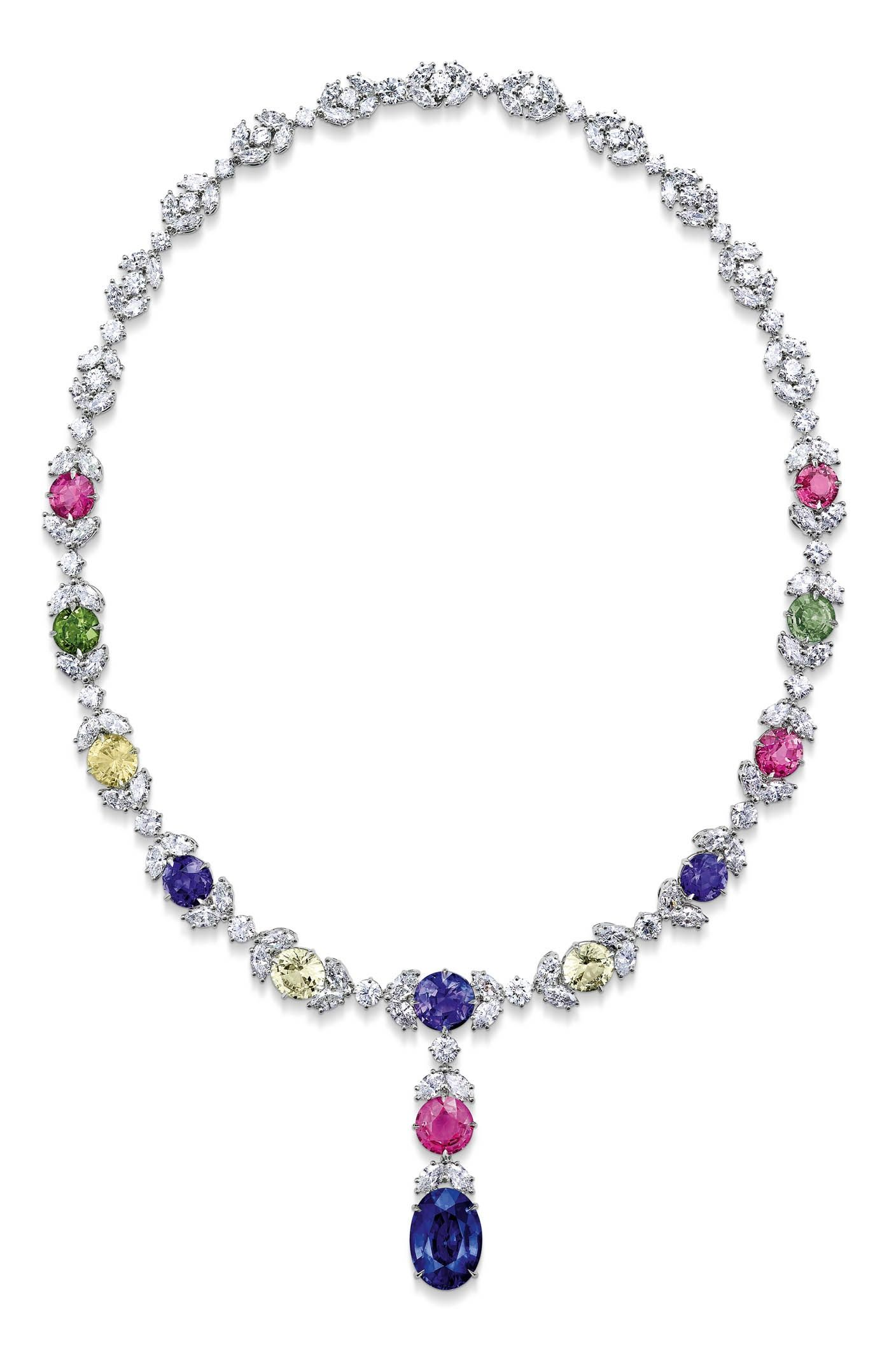 Asprey London exceptional colored sapphire and diamond necklace