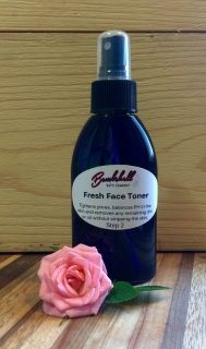 Fresh face toner is used to rid the skin of any residual dirt and oils, leaving the skin feeling clean but not tight. Contains aloe barbadensis (organic aloe) leaf juice, rosa damascene (rose) distillate, and citric acid.