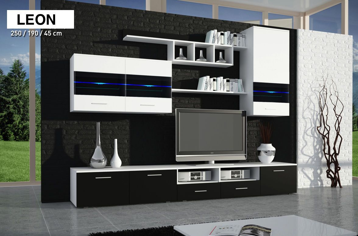 Black High Gloss And White Tv Unit Leon Modern Tv Table Stand Mdf 250cm Wide White Tv Unit Wall Unit Modern Tv
