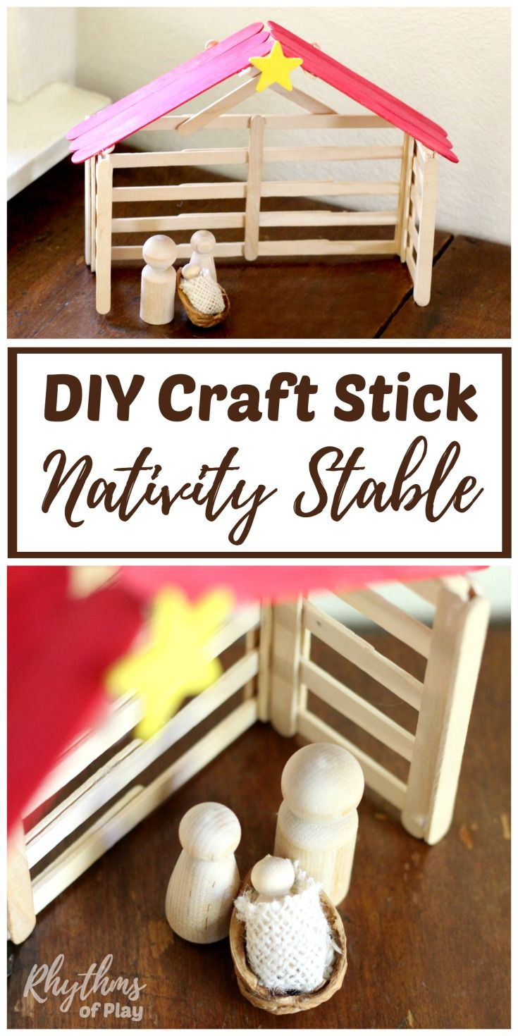 Popsicle Stick Nativity Stable Christmas Craft Craft