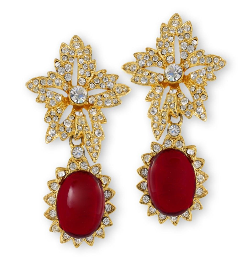 Kenneth Jay Lane Gold Crystal Flower Top Ruby Teardrop Clip Earrings V2BbCzFpN