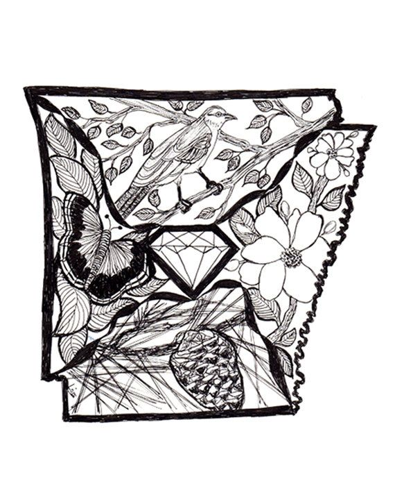 Black and White Arkansas Doodle with Arkansas Symbols | Pinterest