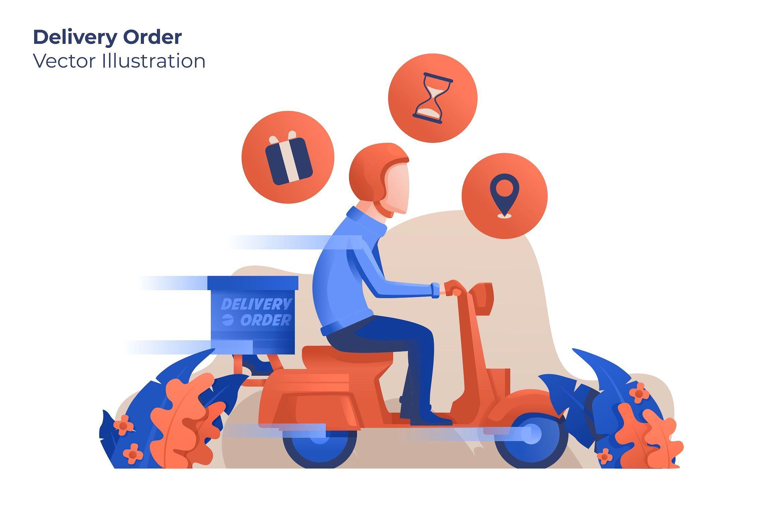 Delivery Order Vector Illustration Grafis Desain Logo Gambar