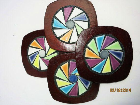 Wood  Mosaic Coasters  Multicolored Ceramic by WiseCrackinMosaics, $28.00
