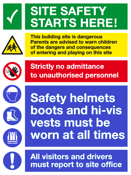 Site Safety Sign Safety Signs Construction Signs