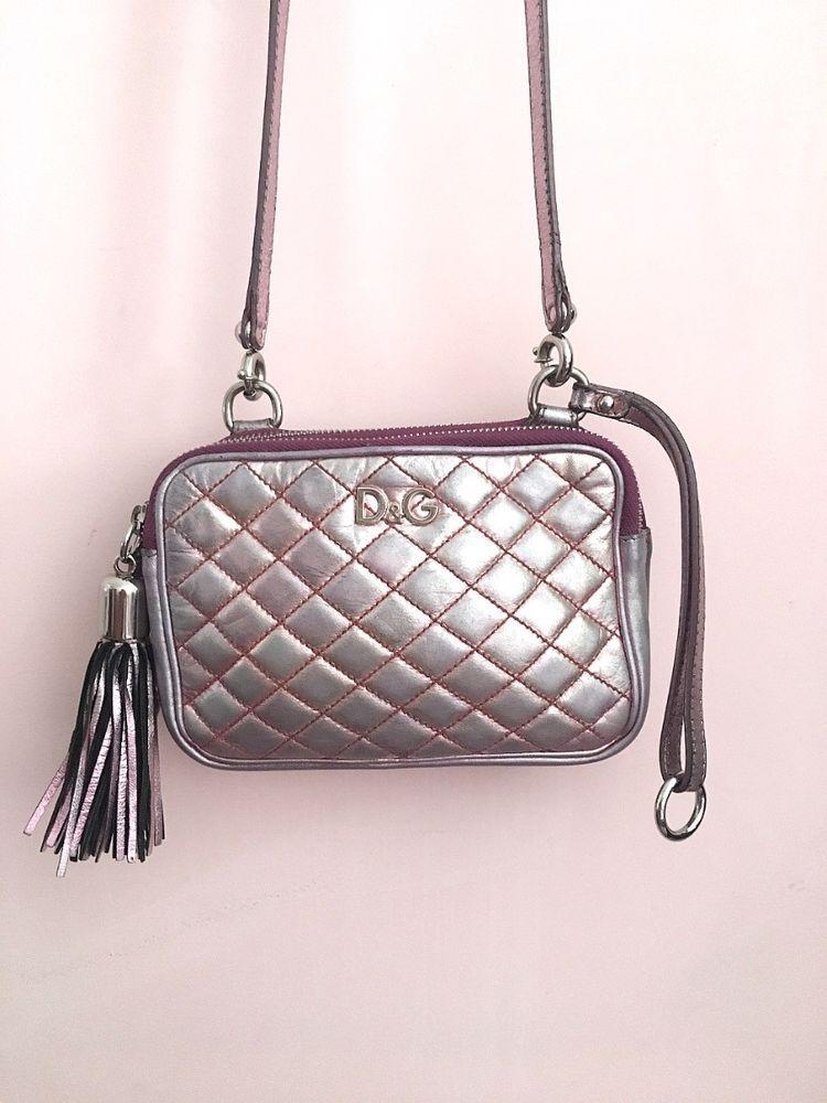 94f29f25b963 Dolce Gabbana Lily Glam Pink Nacre Silver Crossbody Bag Leather   DolceGabbana  Crossbodyorclutch