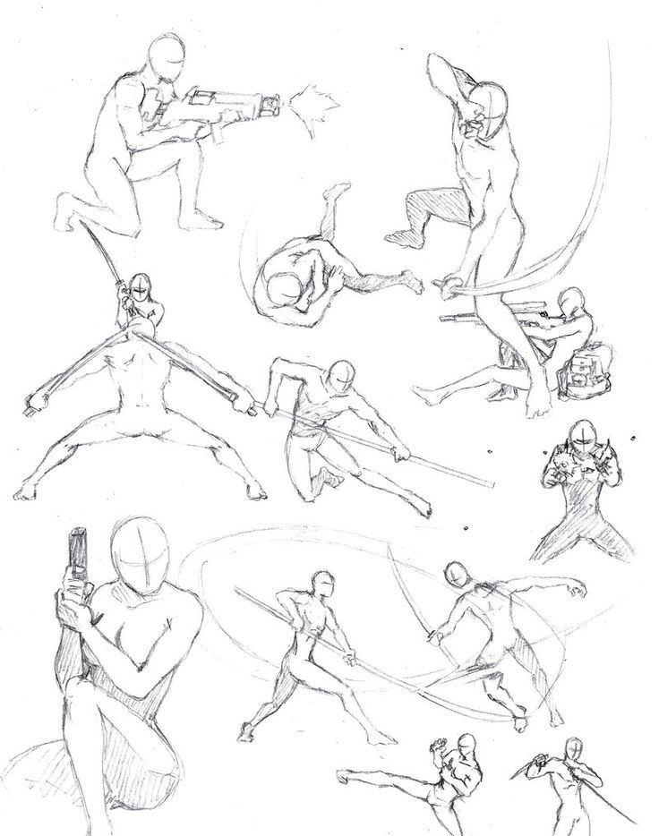 How to draw the human body study action poses for comic manga character reference