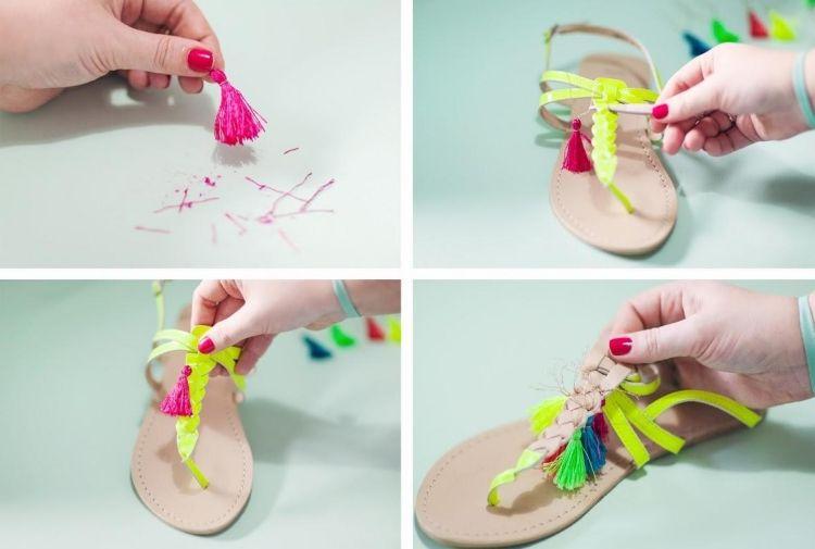 zu einfarbigen Sandalen noch mehr Farbe geben